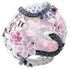 Pierścionek Spacer w Wyobraźni - Różowy Raj - Srebro, diamenty i kamienie ozdobne