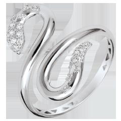 Pierścionek Spacer w Wyobraźni - Wąż Miłości - złoto białe 9-karatowe i diamenty