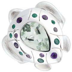 Pierścionek Spacer w Wyobraźni - Żółw Oceaniczny - Srebro i kamienie ozdobne