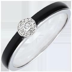 Pierścionek Światłocień z jednym diamentem - czarna laka i diamenty 0,04 karata - złoto białe 18-karatowe