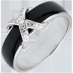 Pierścionek Światłocień - Połączenie czarnej laki i diamentów - złoto białe 18-karatowe