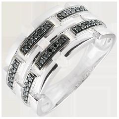 Pierścionek Światłocień - Sekretna Droga - białe złoto, czarny diament - duży model 9 karatów