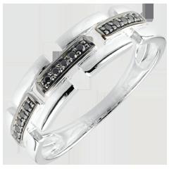Pierścionek Światłocień - Sekretna Droga - białe złoto, czarny diament - mały model 9 karatów