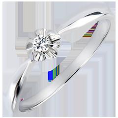 Pierścionek Świeżość z pojedynczym diamentem – Jaskier – białe złoto 9-karatowe z diamentem