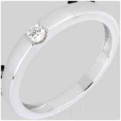 Pierścionek Symfonia z jednym diamentem - złoto białe 18-karatowe