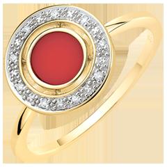 Pierścionek Szczęście - Karneol i diamenty - złoto żółte 9-karatowe