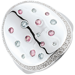 Pierścionek Tajemnicza Forma - Srebro, diamenty i kamienie ozdobne