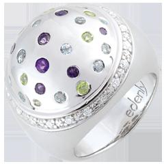 Pierścionek Tajemnicza Kula - Srebro, diamenty i kamienie ozdobne