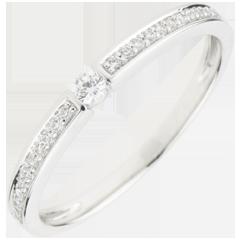 Pierścionek Ultima z jednym diamentem - złoto białe 18-karatowe