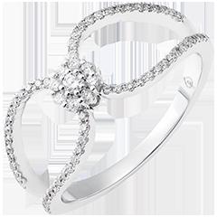 Pierścionek Valentine - 9-karatowe białe złoto wysadzane diamentami