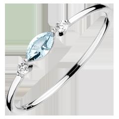 Pierścionek Wschodnie Spojrzenie - mały model - niebieski topaz i diamenty - złoto białe 9-karatowe