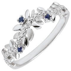 Pierścionek Zaczarowany Ogród - Królewskie Liście - złoto białe 9-karatowe, diamenty i szafiry