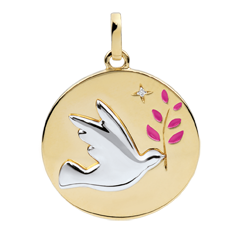 Pink Lacquer Dove with Branch Medal with 1 diamond - 18ct