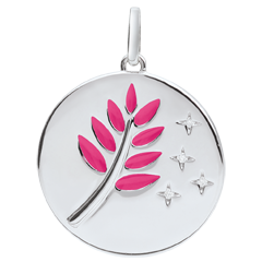 Pink Lacquer Olive Branch Medal with 4 diamonds - 9ct