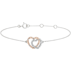 Pulsera Oro Blanco Oro Rosa y Diamantes - Corazones Cómplices