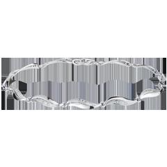 Pulsera trenzada oro blanco - 22 diamantes