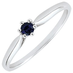 Reed Solitaire Engagement Ring - 6 claws - 0.09 carats sapphire - white gold 18 carats