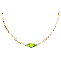 Regard d'Orient necklace - peridot and diamonds - yellow gold 9 carats