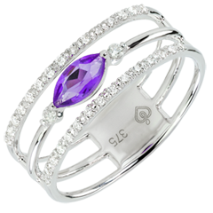 Regard d'Orient ring - large size - amethyst and diamonds - white gold 9 carats