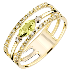 Regard d'Orient ring - large size - peridot and diamonds - yellow gold 9 carats