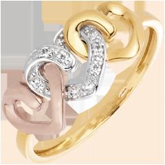 Ring 3 Harten 3 Goudsoorten en Diamanten - 18 karaat goud