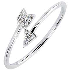 Ring Abundance - Cupid - white gold 9 carats and diamonds