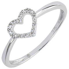 Ring Abundance - Little Heart - white gold 9 carats and diamonds