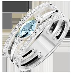 Ring Auge des Orients - Großes Modell - Blauer Topas und Diamanten - 9 Karat Weißgold