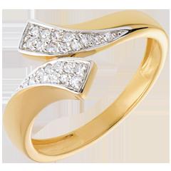 Ring betegelde band Geel Goud - 24 Diamanten