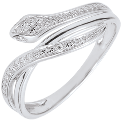 Ring Betoverende Slang - wit goud en diamanten - 18 karaat