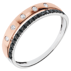Ring Betovering - Crown of Stars - klein model - roze goud - zwarte en witte diamanten - 18 karaat