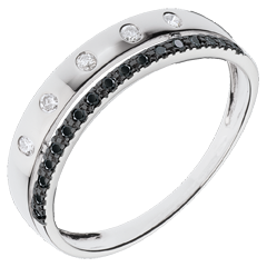 Ring Betovering - Crown of Stars - klein model - zwarte diamanten