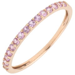 Ring Bird of Paradise - one line - rose gold and pink sapphire