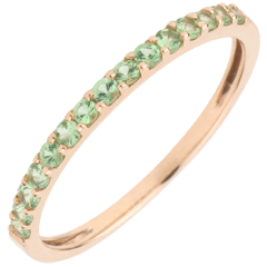 Ring Bird of Paradise - one line - rose gold and tsavorite