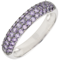 Ring Bird of Paradise - three lines - white gold and amethyst