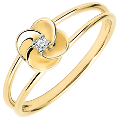Ring Blüte - Erste Rose - Gelbgold und Diamant - 18 Karat