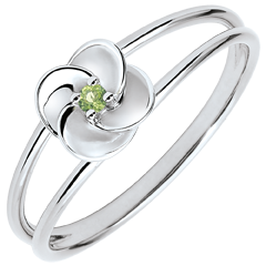 Ring Blüte - Erste Rose - Weißgold Peridot - 18 Karat