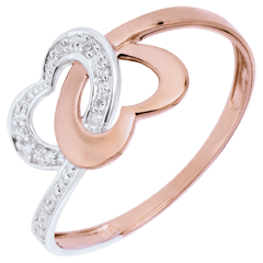 Ring By Heart - Pink gold and white gold