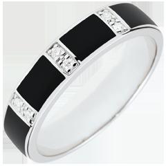 Ring Chiaroscuro - zwarte lak en Diamanten - karaat witgoud - 9 karaat witgoud