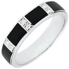 Ring Clair Obscure - black lacquer and diamonds - 18 carat