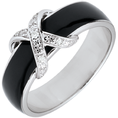 Ring Clair Obscure - black lacquer Cross and diamonds - 18 carat