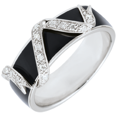Ring Clair Obscure - Ribbon Stars - black lacquer and diamonds
