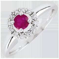 Ring clevia - robijn - 18 karaat witgoud