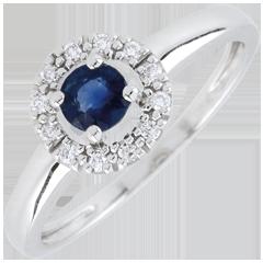 Ring clevia - Saffier - 18 karaat witgoud
