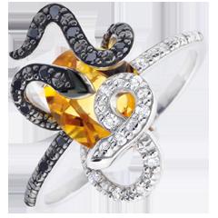 Ring Dagdromen - Gorgonia - zilver, Diamant en edelstenen