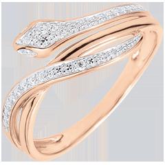 Ring Denkbeeldige Balade - Betoverende Slang- roze goud en diamanten - 18 karaat