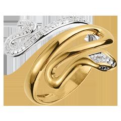 Ring Denkbeeldige Balade - Kostbare Dreiging - 2 goudkleuren en diamanten .