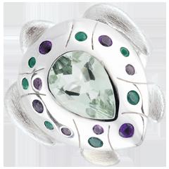 Ring Denkbeeldige Balade - oceaan Schildpad - zilver en edelstenen