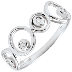 Ring Diamanten und Weissgold Luna - 4 Diamanten - 18 karat