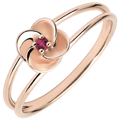 Ring Eclosion - First Rose - pink gold and ruby - 18 carats